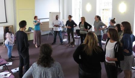 Group workshop people doing breathing exercises