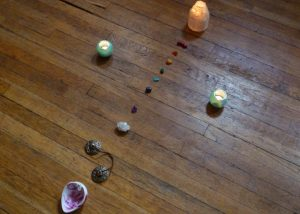 Layout for Sonic Meditation Chakra Crystals, Candles and Chimes