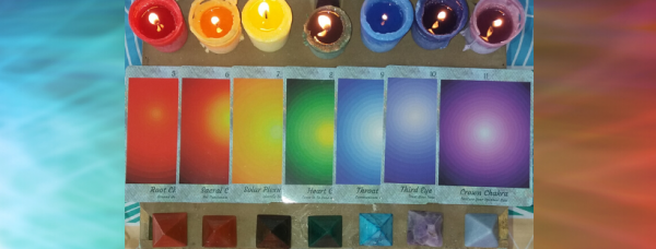 Showing the Seven Chakra Sound Cards Colours and Crystals